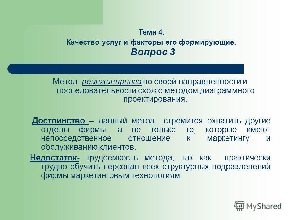 Тема 4. Качество услуг и факторы его формирующие. Вопрос 3 Метод реинжиниринга по своей направленности и последовательности схож с методом диаграммного проектирования. Достоинство – данный метод стремится охватить другие отделы фирмы, а не только те,