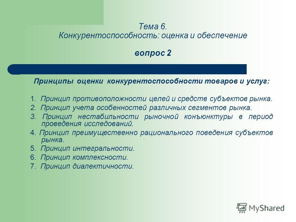 Тема 6. Конкурентоспособность: оценка и обеспечение вопрос 2 Принципы оценки конкурентоспособности товаров и услуг: 1. Принцип противоположности целей и средств субъектов рынка. 2. Принцип учета особенностей различных сегментов рынка. 3. Принцип нест