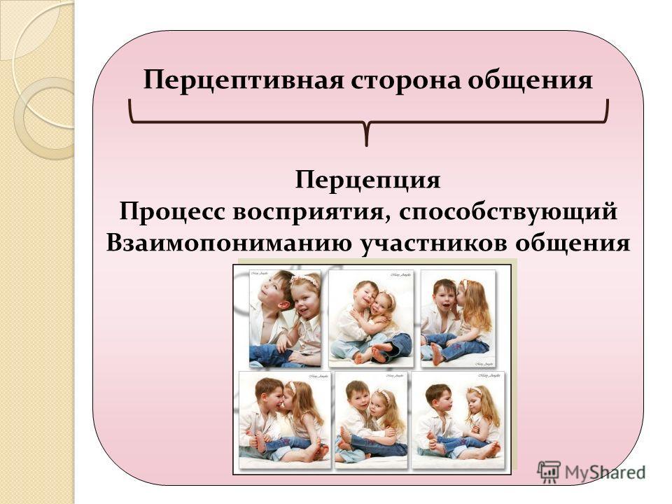 Перцептивная сторона общения Перцепция Процесс восприятия, способствующий Взаимопониманию участников общения