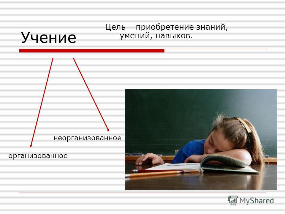 Учение Цель – приобретение знаний, умений, навыков. организованное неорганизованное
