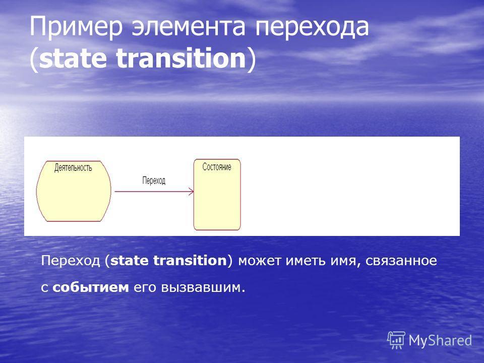 Пример элемента перехода (state transition) Переход (state transition) может иметь имя, связанное с событием его вызвавшим.
