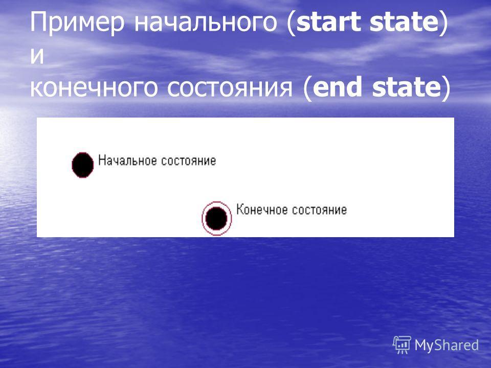 Пример начального (start state) и конечного состояния (end state)