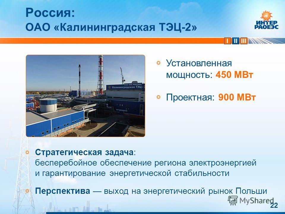 IIIIII 22 Россия: ОАО «Калининградская ТЭЦ-2» Стратегическая задача: бесперебойное обеспечение региона электроэнергией и гарантирование энергетической стабильности Перспектива выход на энергетический рынок Польши Установленная мощность: 450 МВт Проек
