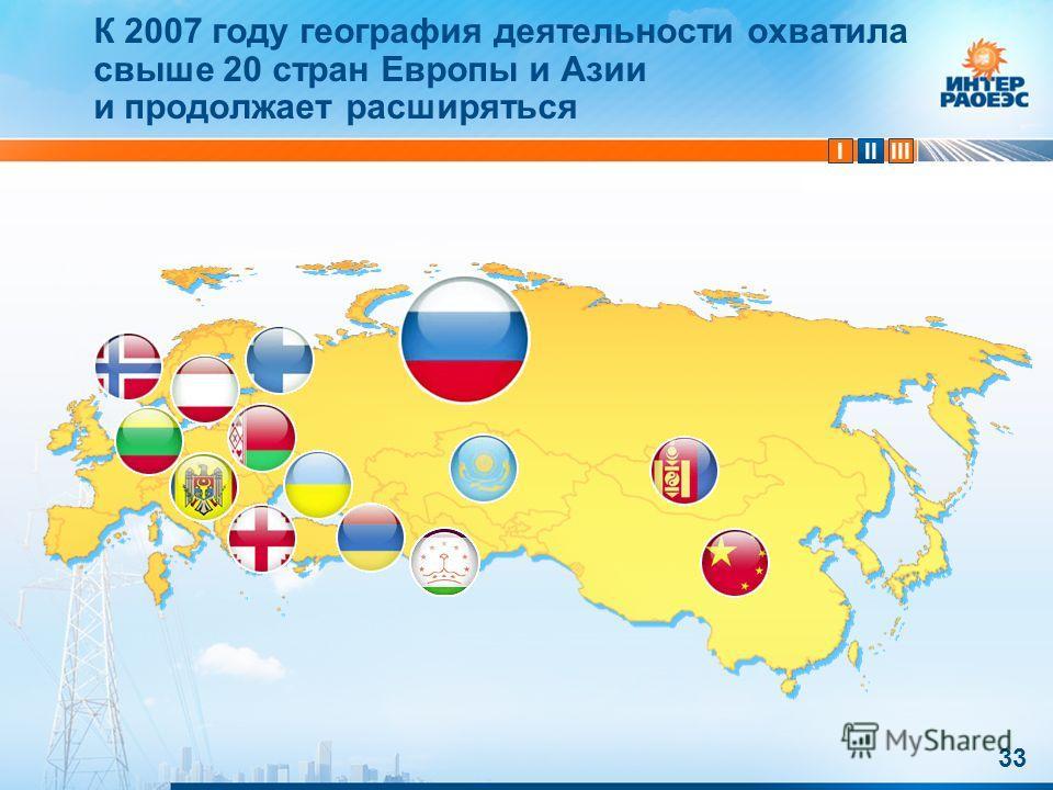 IIIIII 33 К 2007 году география деятельности охватила свыше 20 стран Европы и Азии и продолжает расширяться