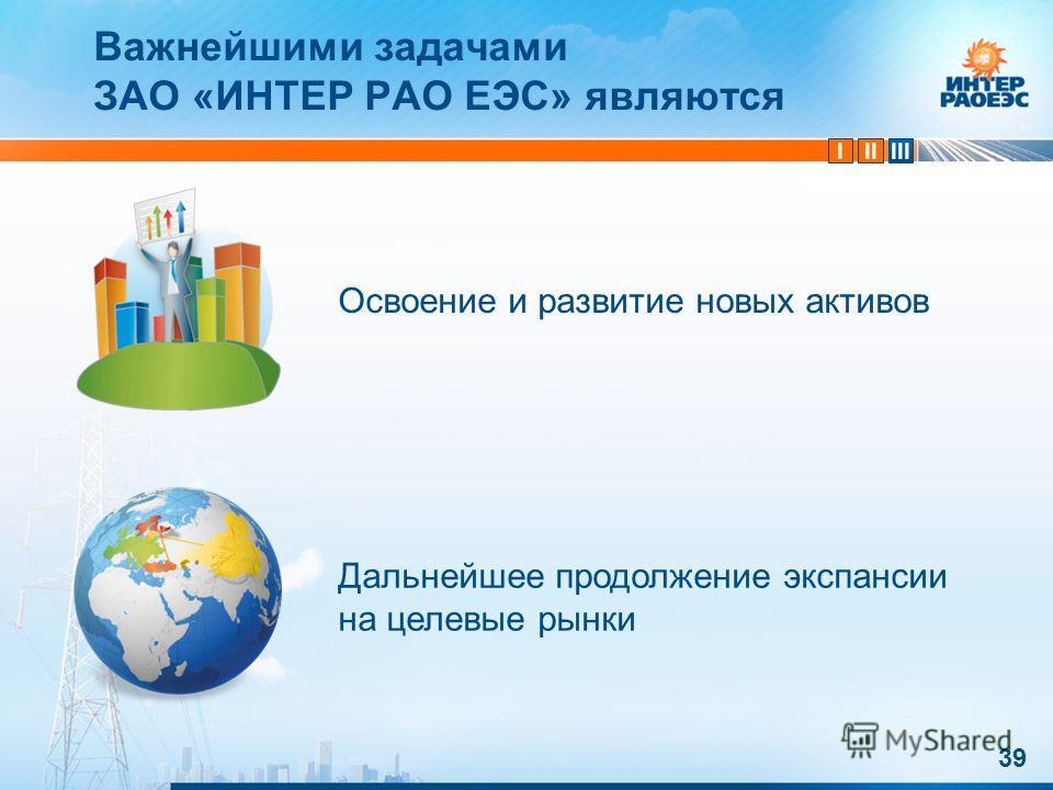 IIIIII 39 Освоение и развитие новых активов Дальнейшее продолжение экспансии на целевые рынки Важнейшими задачами ЗАО «ИНТЕР РАО ЕЭС» являются