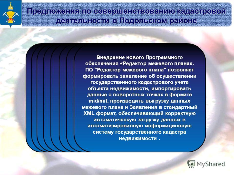 Предложения по совершенствованию кадастровой деятельности в Подольском районе Ведение государственного кадастра объектов недвижимости должно обеспечиваться внесением данных в единую автоматизированную базу данных через средства компьютерной сети или