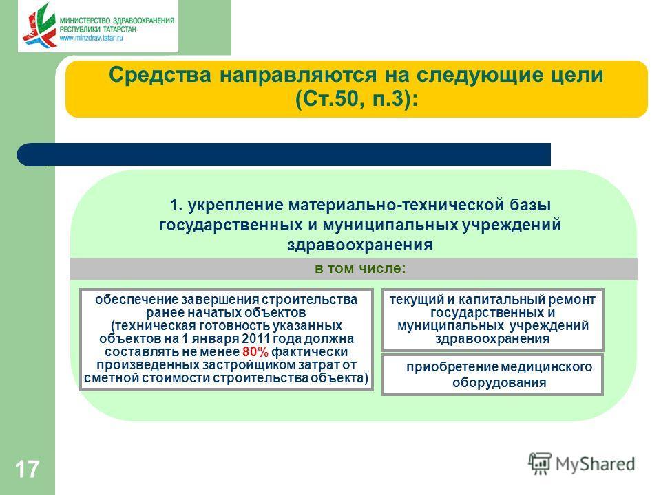 17 1. укрепление материально-технической базы государственных и муниципальных учреждений здравоохранения в том числе: обеспечение завершения строительства ранее начатых объектов (техническая готовность указанных объектов на 1 января 2011 года должна