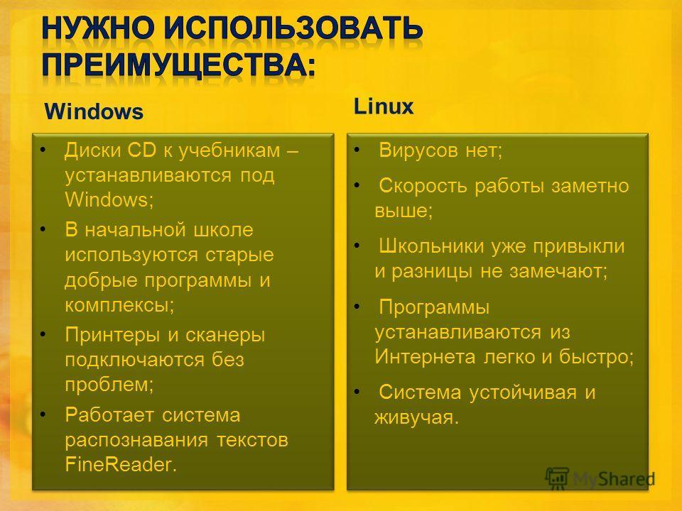 Windows Диски CD к учебникам – устанавливаются под Windows; В начальной школе используются старые добрые программы и комплексы; Принтеры и сканеры подключаются без проблем; Работает система распознавания текстов FineReader. Диски CD к учебникам – уст
