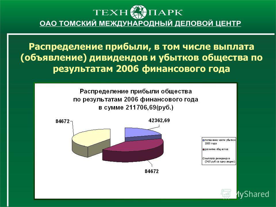 Распределение прибыли, в том числе выплата (объявление) дивидендов и убытков общества по результатам 2006 финансового года