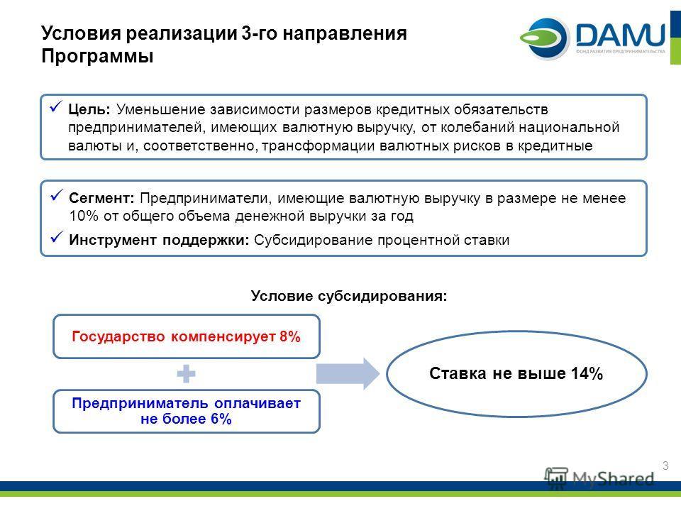 Условия реализации 3-го направления Программы 3 Цель: Уменьшение зависимости размеров кредитных обязательств предпринимателей, имеющих валютную выручку, от колебаний национальной валюты и, соответственно, трансформации валютных рисков в кредитные Сег
