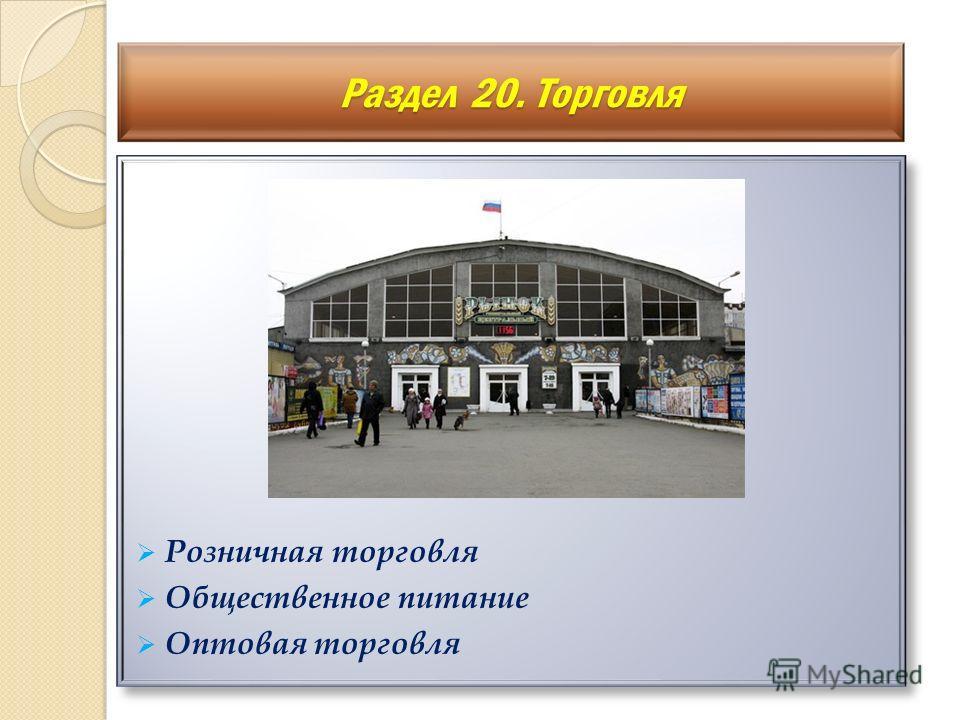 Розничная торговля Общественное питание Оптовая торговля Розничная торговля Общественное питание Оптовая торговля Раздел 20. Торговля