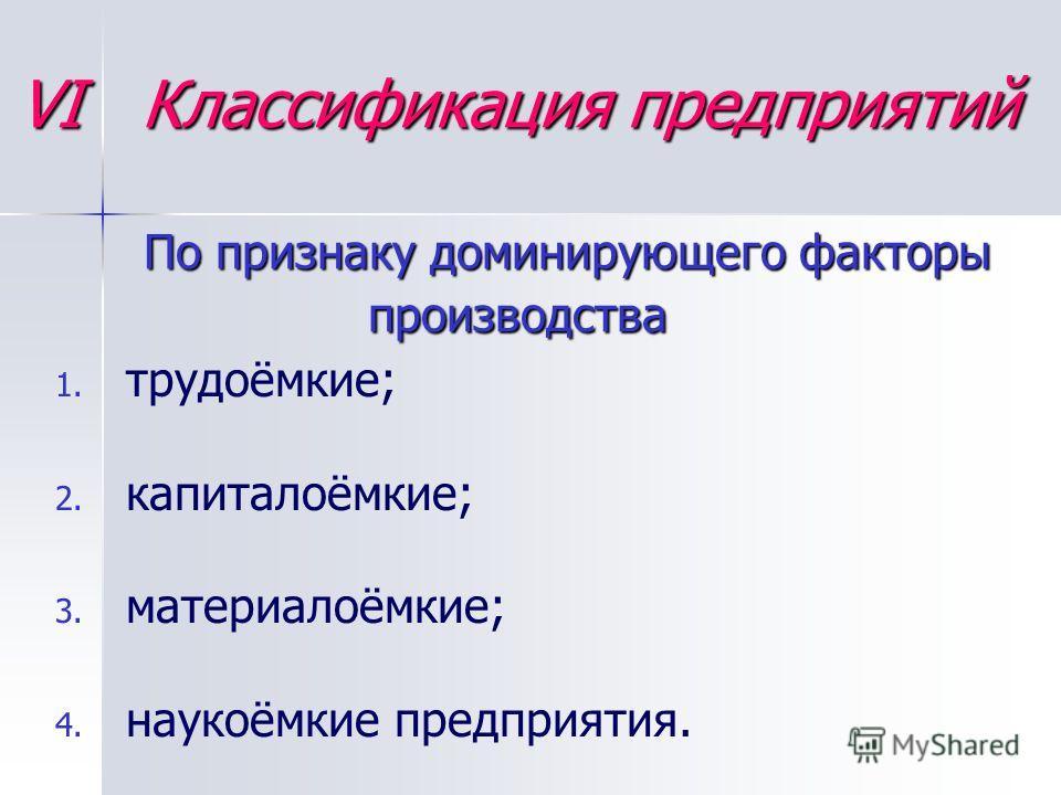 VI Классификация предприятий По признаку доминирующего факторы производства 1. 1. трудоёмкие; 2. 2. капиталоёмкие; 3. 3. материалоёмкие; 4. 4. наукоёмкие предприятия.
