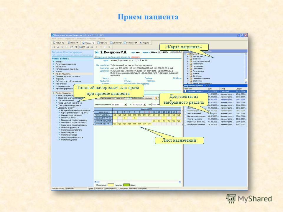 «Карта пациента» Документы из выбранного раздела Лист назначений Типовой набор задач для врача при приеме пациента