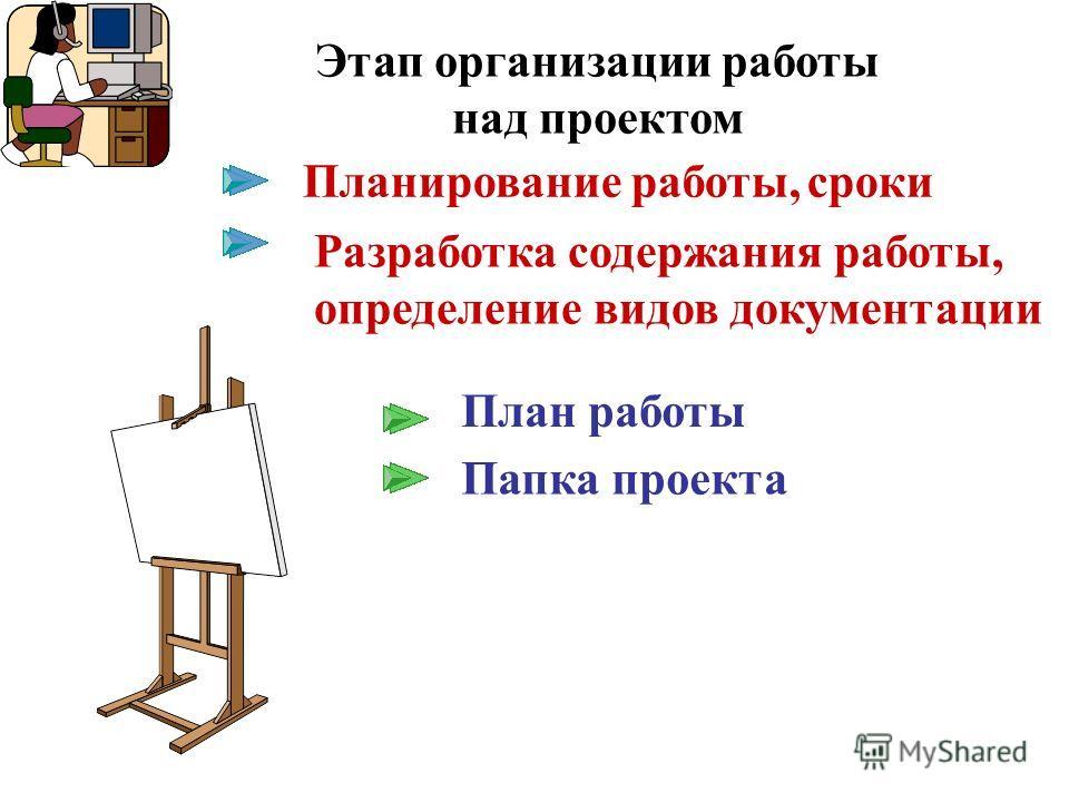 Планирование работы, сроки План работы Папка проекта Этап организации работы над проектом Разработка содержания работы, определение видов документации