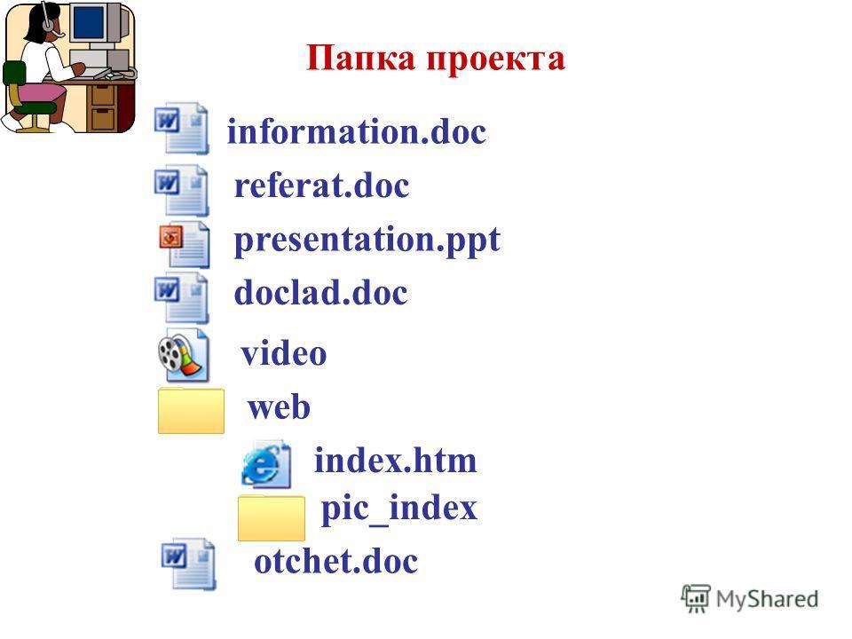 web referat.doc Папка проекта presentation.ppt video otchet.doc information.doc index.htm doclad.doc pic_index