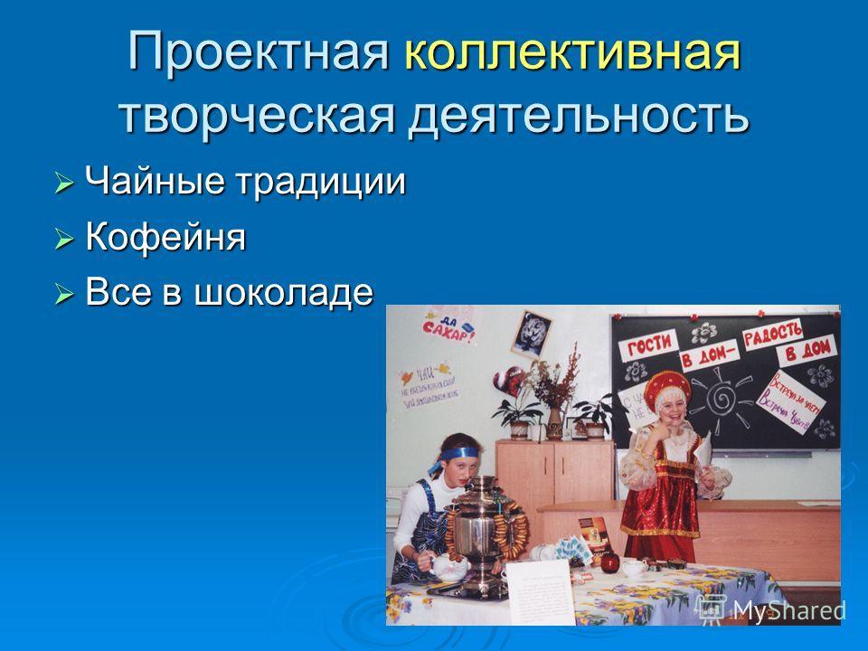 Проектная коллективная творческая деятельность Чайные традиции Чайные традиции Кофейня Кофейня Все в шоколаде Все в шоколаде