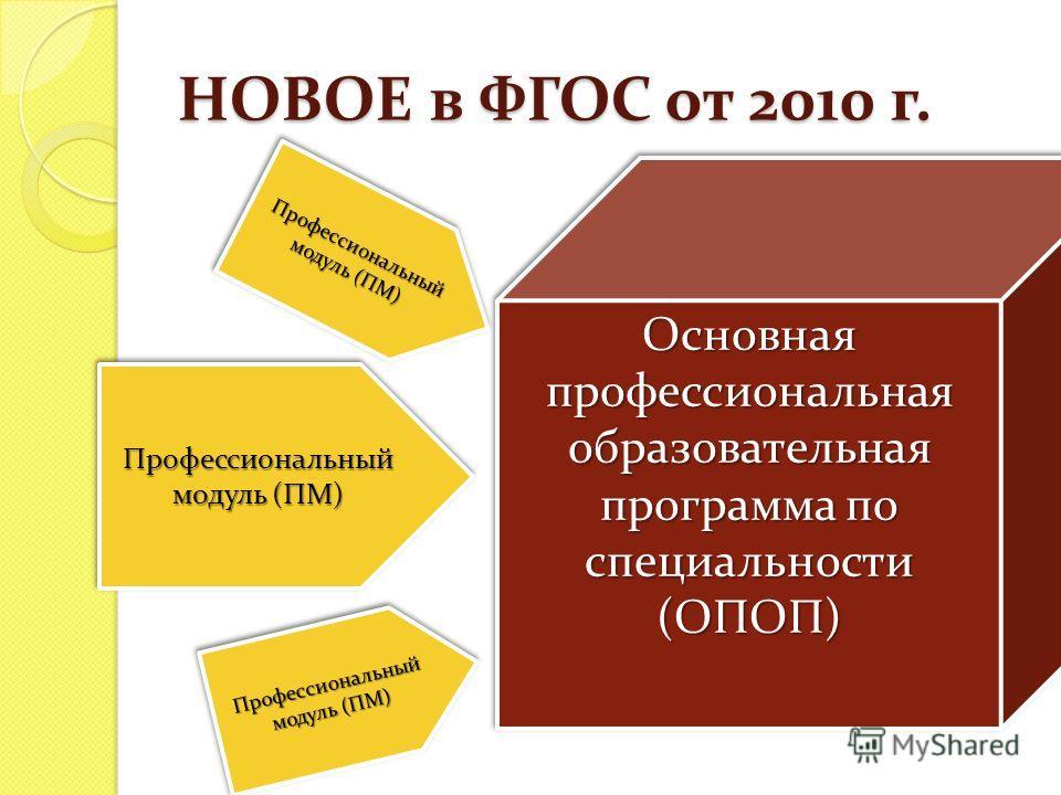 НОВОЕ в ФГОС от 2010 г. Основная профессиональная образовательная программа по специальности (ОПОП) (ОПОП) Профессиональный модуль (ПМ)