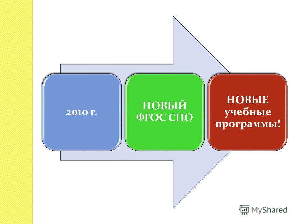 2010 г. НОВЫЙ ФГОС СПО НОВЫЕ учебные программы!