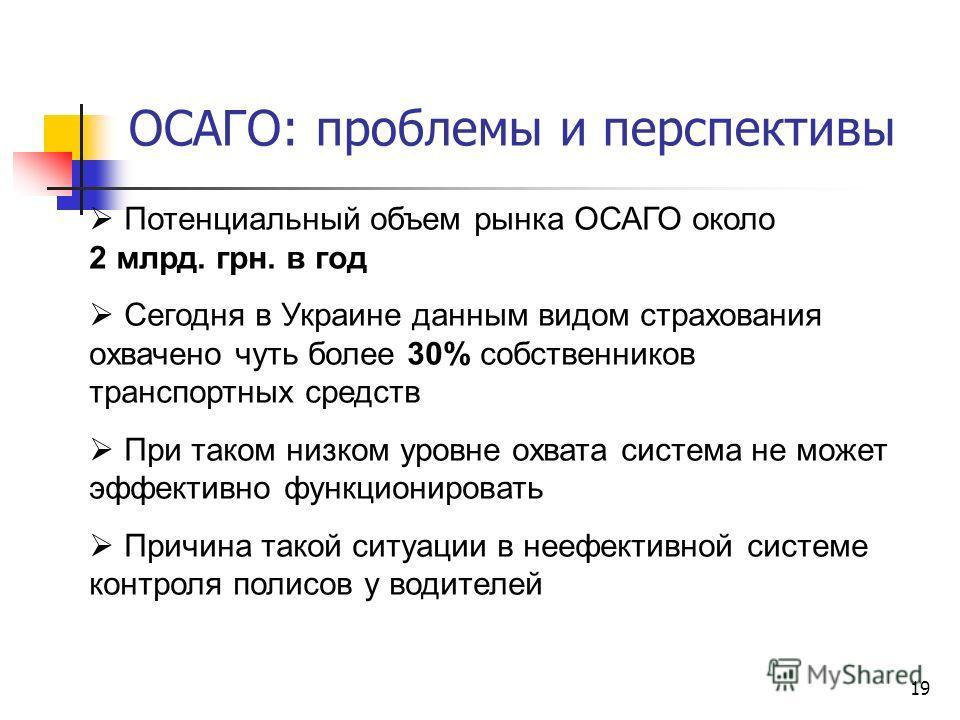 19 ОСАГО: проблемы и перспективы Потенциальный объем рынка ОСАГО около 2 млрд. грн. в год Сегодня в Украине данным видом страхования охвачено чуть более 30% собственников транспортных средств При таком низком уровне охвата система не может эффективно