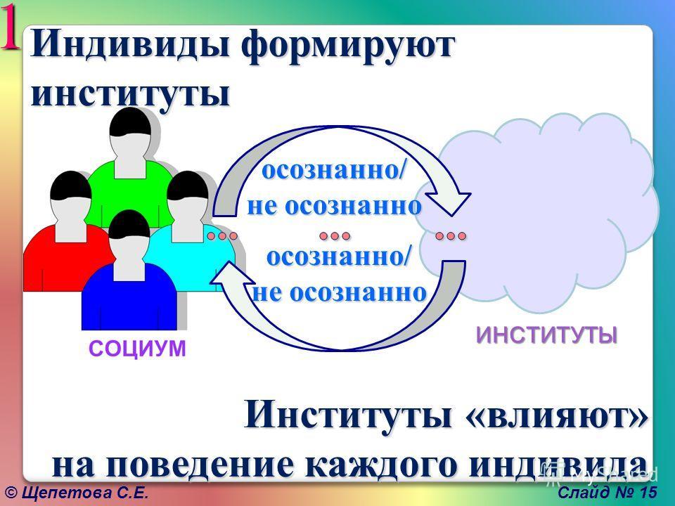 © Щепетова С.Е. Слайд 15 ИНСТИТУТЫ осознанно/ не осознанно осознанно/ 1