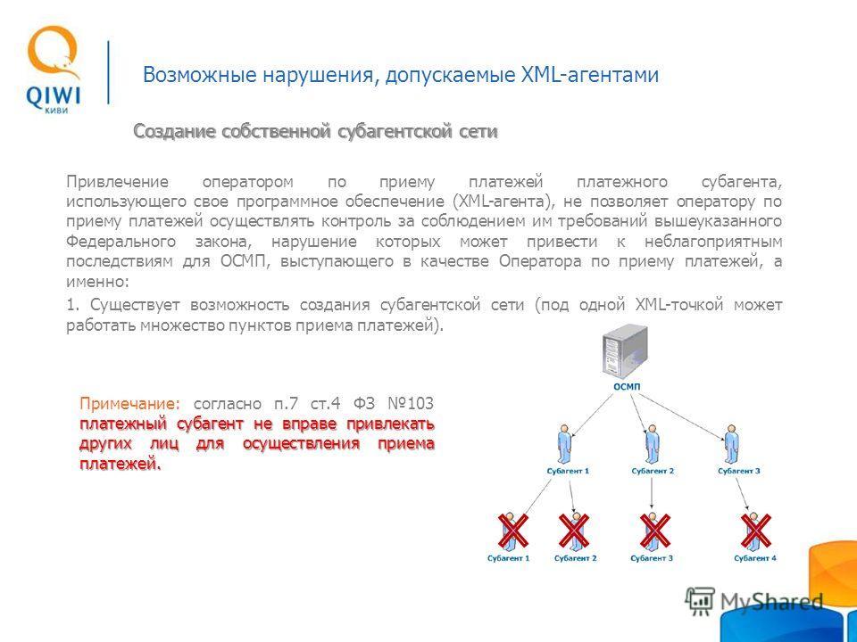 Возможные нарушения, допускаемые XML-агентами Привлечение оператором по приему платежей платежного субагента, использующего свое программное обеспечение (XML-агента), не позволяет оператору по приему платежей осуществлять контроль за соблюдением им т