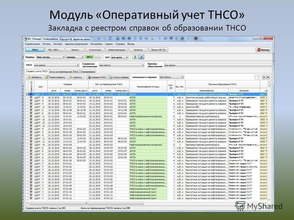 Модуль «Оперативный учет ТНСО» Закладка с реестром справок об образовании ТНСО