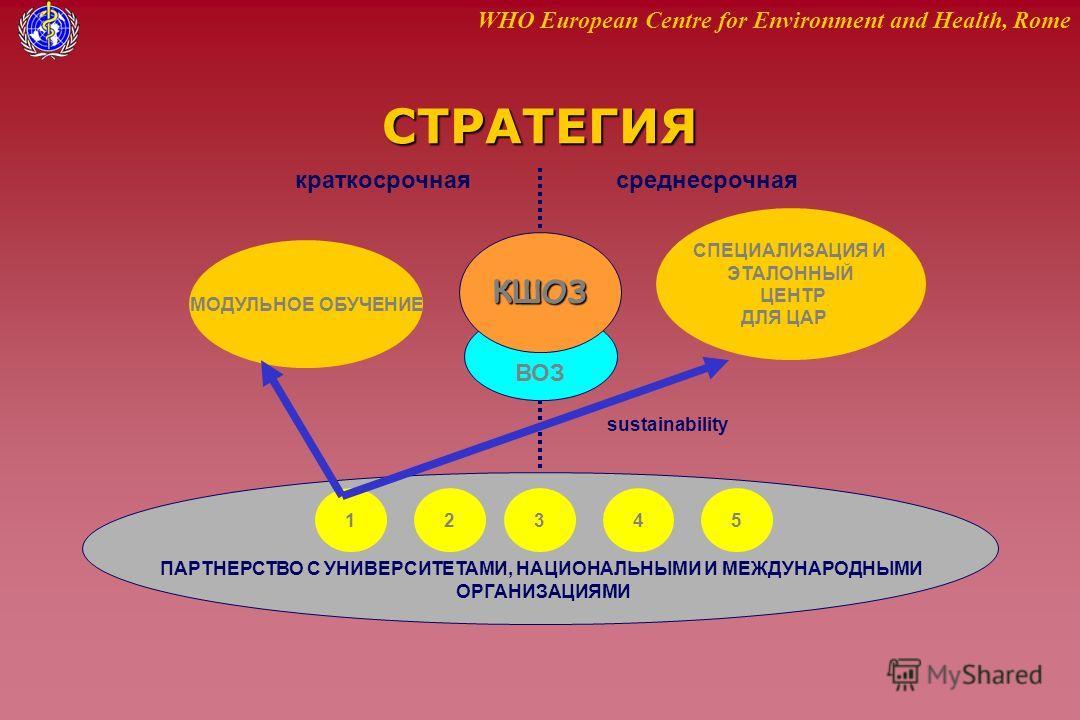 WHO European Centre for Environment and Health, RomeСТРАТЕГИЯ КШОЗ краткосрочнаясреднесрочная МОДУЛЬНОЕ ОБУЧЕНИЕ СПЕЦИАЛИЗАЦИЯ И ЭТАЛОННЫЙ ЦЕНТР ДЛЯ ЦАР 12345 ПАРТНЕРСТВО С УНИВЕРСИТЕТАМИ, НАЦИОНАЛЬНЫМИ И МЕЖДУНАРОДНЫМИ ОРГАНИЗАЦИЯМИ ВОЗ sustainabili