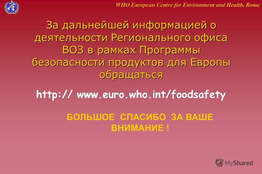 WHO European Centre for Environment and Health, Rome За дальнейшей информацией о деятельности Регионального офиса ВОЗ в рамках Программы безопасности продуктов для Европы обращаться http:// www.euro.who.int/foodsafety БОЛЬШОЕ СПАСИБО ЗА ВАШЕ ВНИМАНИЕ
