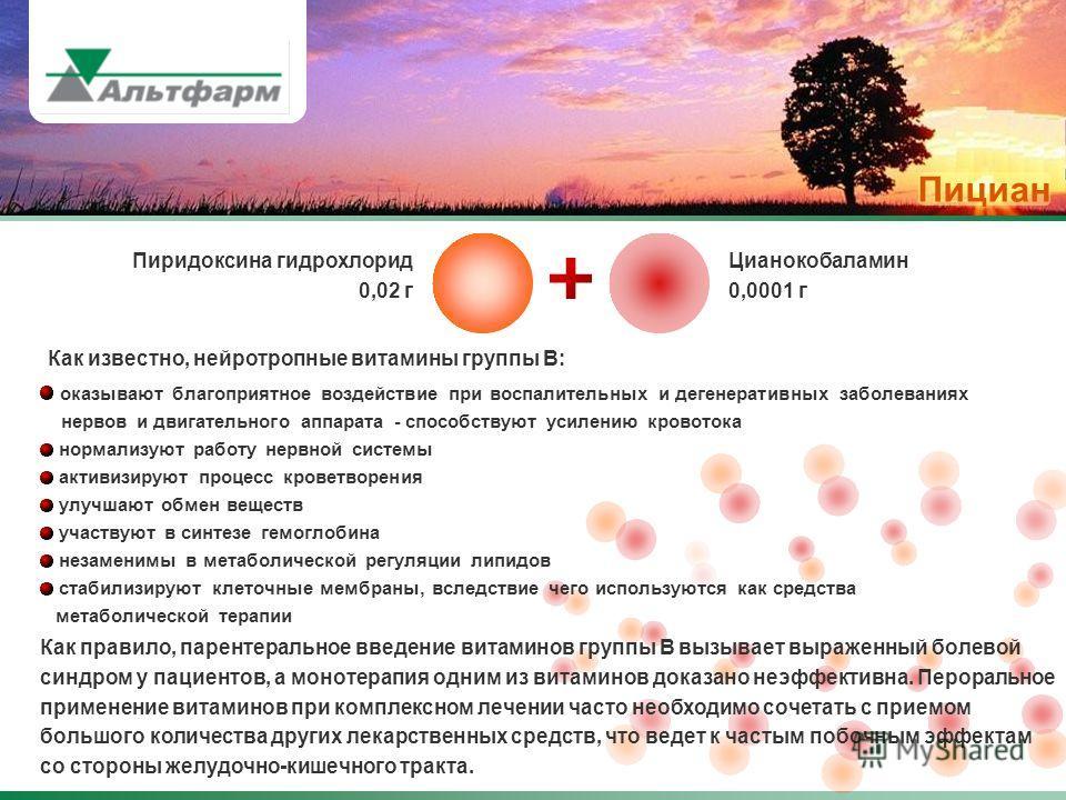 Пиридоксина гидрохлорид 0,02 г Цианокобаламин 0,0001 г Как известно, нейротропные витамины группы В: оказывают благоприятное воздействие при воспалительных и дегенеративных заболеваниях нервов и двигательного аппарата - способствуют усилению кровоток