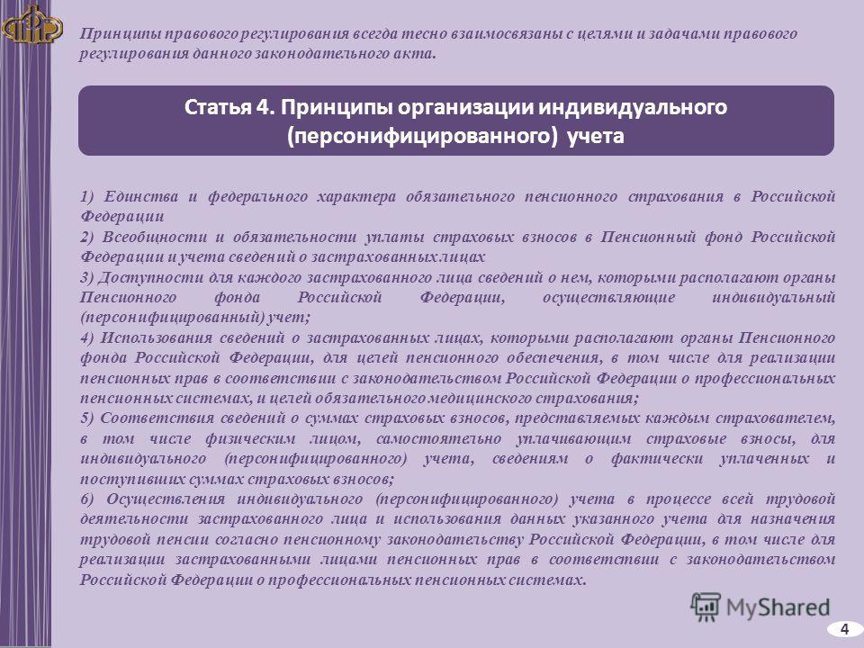 Статья 4. Принципы организации индивидуального (персонифицированного) учета 4 1) Единства и федерального характера обязательного пенсионного страхования в Российской Федерации 2) Всеобщности и обязательности уплаты страховых взносов в Пенсионный фонд