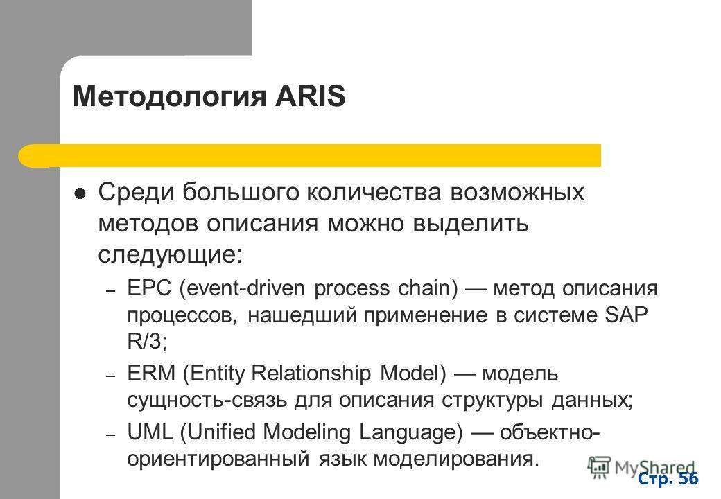 Стр. 56 Методология ARIS Среди большого количества возможных методов описания можно выделить следующие: – EPC (event-driven process chain) метод описания процессов, нашедший применение в системе SAP R/3; – ERM (Entity Relationship Model) модель сущно