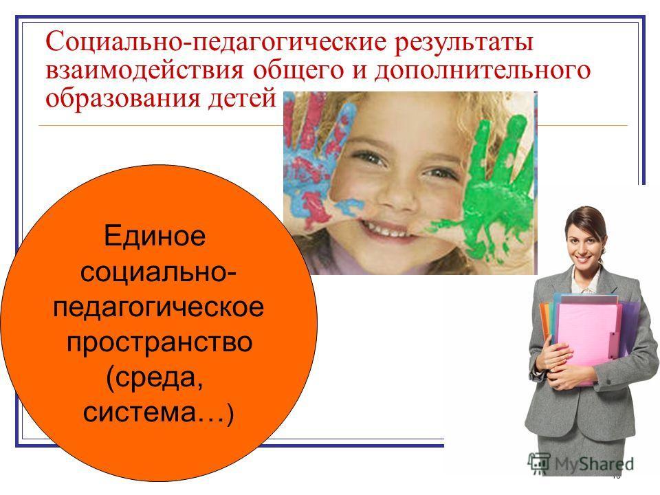 18 Социально-педагогические результаты взаимодействия общего и дополнительного образования детей Единое социально- педагогическое пространство (среда, система… )