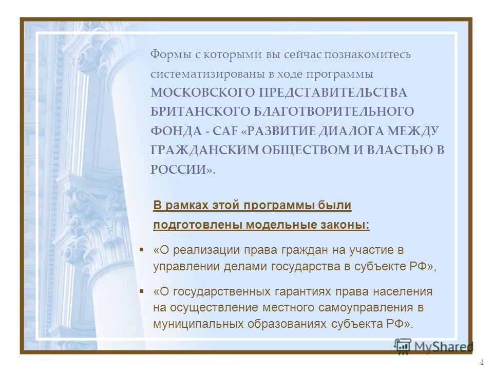 4 В рамках этой программы были подготовлены модельные законы: «О реализации права граждан на участие в управлении делами государства в субъекте РФ», «О государственных гарантиях права населения на осуществление местного самоуправления в муниципальных