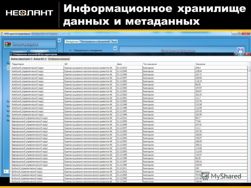 Информационное хранилище данных и метаданных