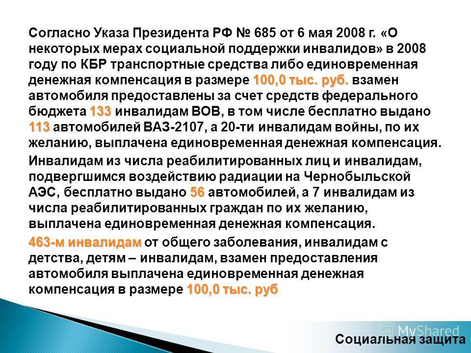 100,0 тыс. руб. 133 113 Согласно Указа Президента РФ 685 от 6 мая 2008 г. «О некоторых мерах социальной поддержки инвалидов» в 2008 году по КБР транспортные средства либо единовременная денежная компенсация в размере 100,0 тыс. руб. взамен автомобиля
