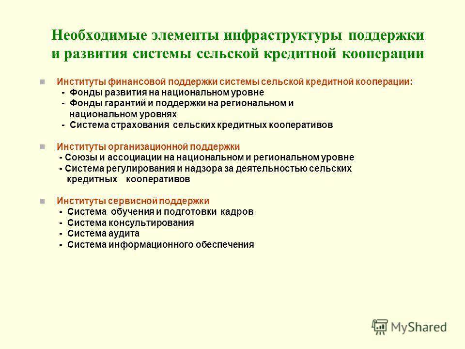 Необходимые элементы инфраструктуры поддержки и развития системы сельской кредитной кооперации Институты финансовой поддержки системы сельской кредитной кооперации: - Фонды развития на национальном уровне - Фонды гарантий и поддержки на региональном