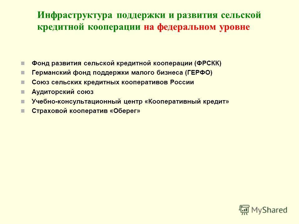 Инфраструктура поддержки и развития сельской кредитной кооперации на федеральном уровне Фонд развития сельской кредитной кооперации (ФРСКК) Германский фонд поддержки малого бизнеса (ГЕРФО) Союз сельских кредитных кооперативов России Аудиторский союз