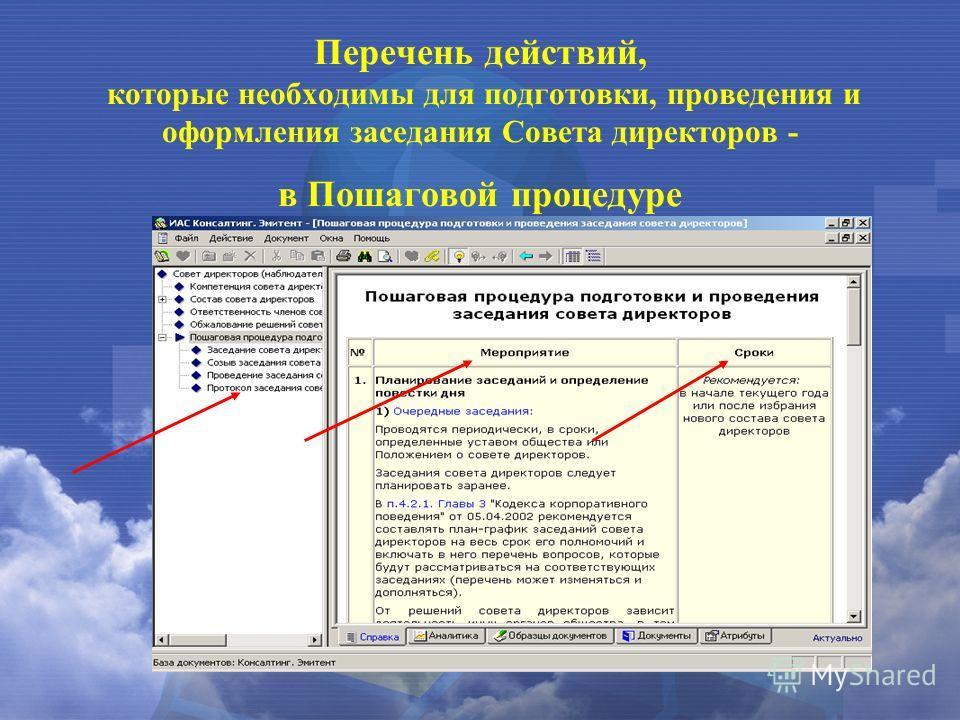 Перечень действий, которые необходимы для подготовки, проведения и оформления заседания Совета директоров - в Пошаговой процедуре