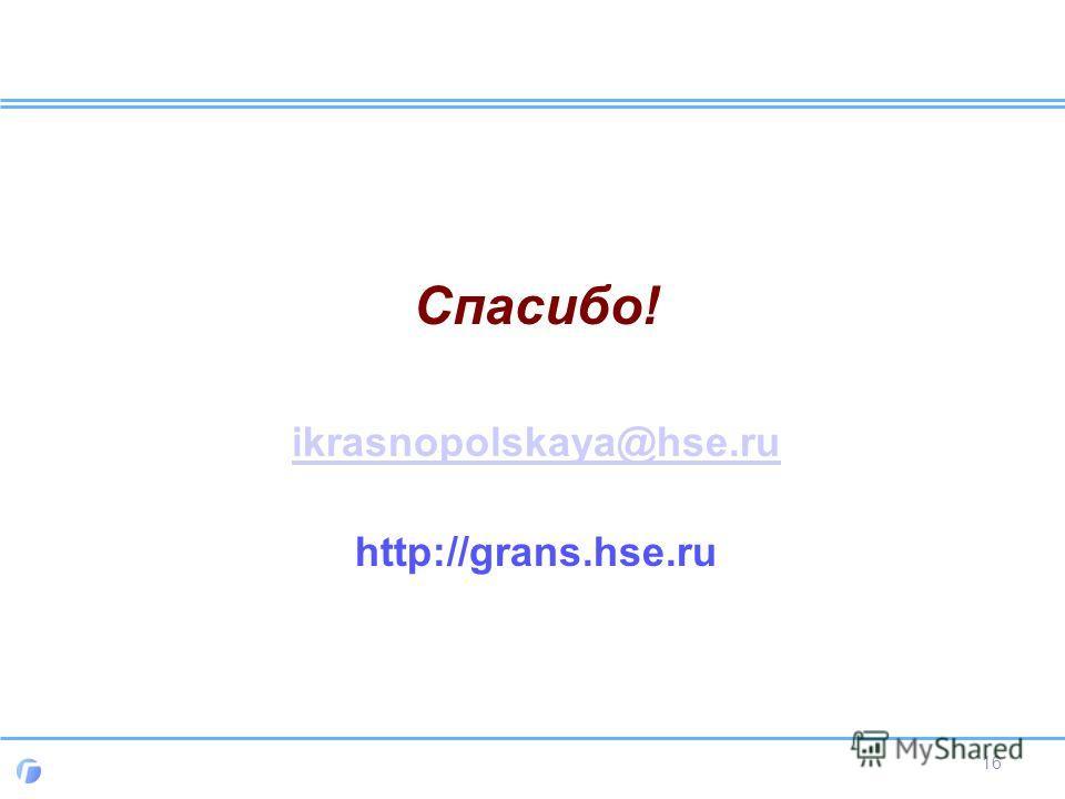 Спасибо! ikrasnopolskaya@hse.ru http://grans.hse.ru 16