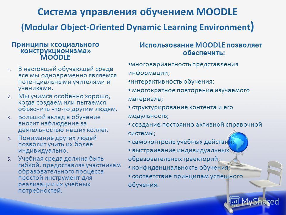 Использование MOODLE позволяет обеспечить: Принципы «социального конструкционизма» MOODLE Система управления обучением MOODLE (Modular Object-Oriented Dynamic Learning Environment ) 1. В настоящей обучающей среде все мы одновременно являемся потенциа