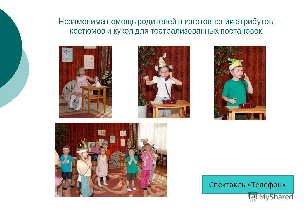Незаменима помощь родителей в изготовлении атрибутов, костюмов и кукол для театрализованных постановок. Спектакль «Телефон»