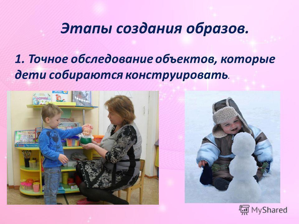 Этапы создания образов. 1. Точное обследование объектов, которые дети собираются конструировать.