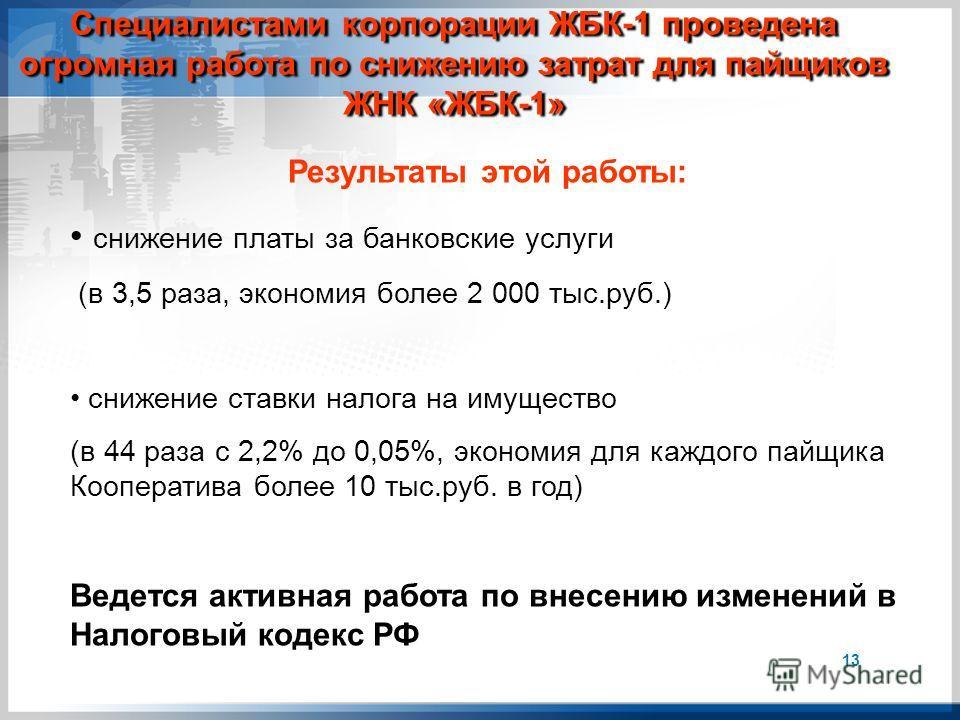 Результаты этой работы: снижение платы за банковские услуги (в 3,5 раза, экономия более 2 000 тыс.руб.) снижение ставки налога на имущество (в 44 раза с 2,2% до 0,05%, экономия для каждого пайщика Кооператива более 10 тыс.руб. в год) Ведется активная