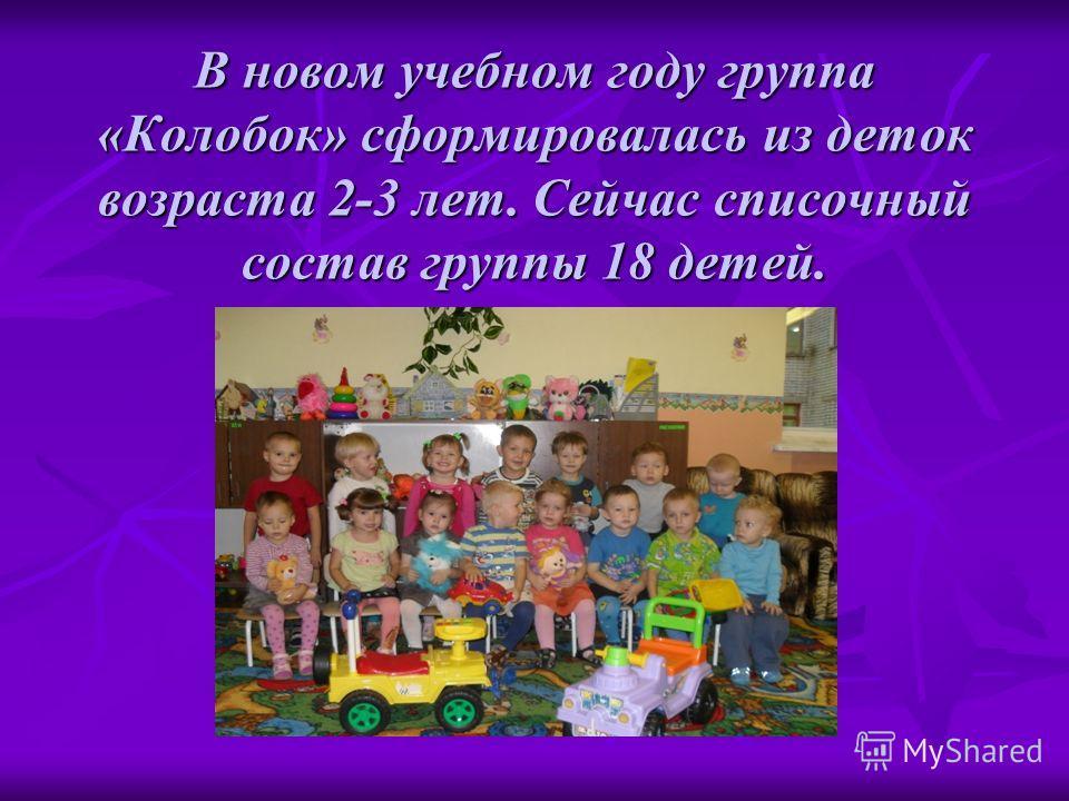 В новом учебном году группа «Колобок» сформировалась из деток возраста 2-3 лет. Сейчас списочный состав группы 18 детей.