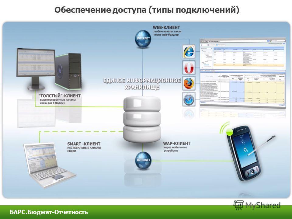 Обеспечение доступа (типы подключений) БАРС.Бюджет-Отчетность