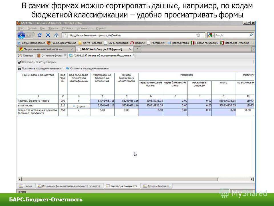 В самих формах можно сортировать данные, например, по кодам бюджетной классификации – удобно просматривать формы БАРС.Бюджет-Отчетность
