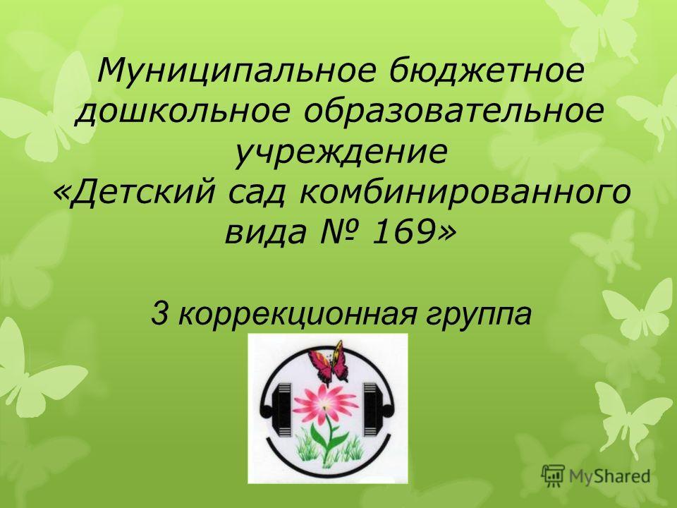Муниципальное бюджетное дошкольное образовательное учреждение «Детский сад комбинированного вида 169» 3 коррекционная группа