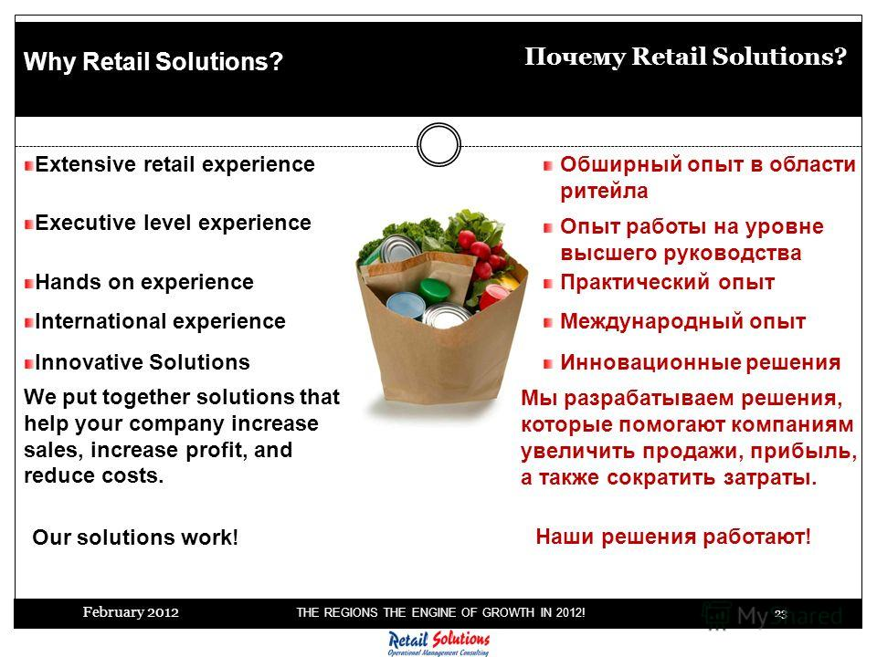 February 2012 THE REGIONS THE ENGINE OF GROWTH IN 2012! 23 Extensive retail experience Why Retail Solutions? Инновационные решения Почему Retail Solutions? Executive level experience Hands on experience International experience We put together soluti