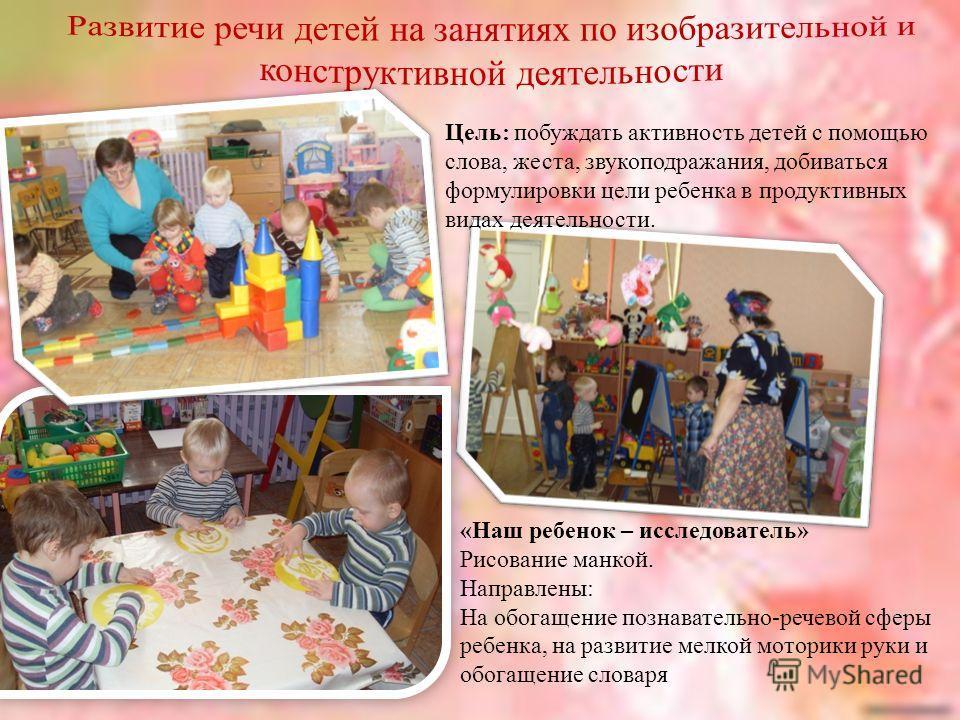 Цель: побуждать активность детей с помощью слова, жеста, звукоподражания, добиваться формулировки цели ребенка в продуктивных видах деятельности. «Наш ребенок – исследователь» Рисование манкой. Направлены: На обогащение познавательно-речевой сферы ре