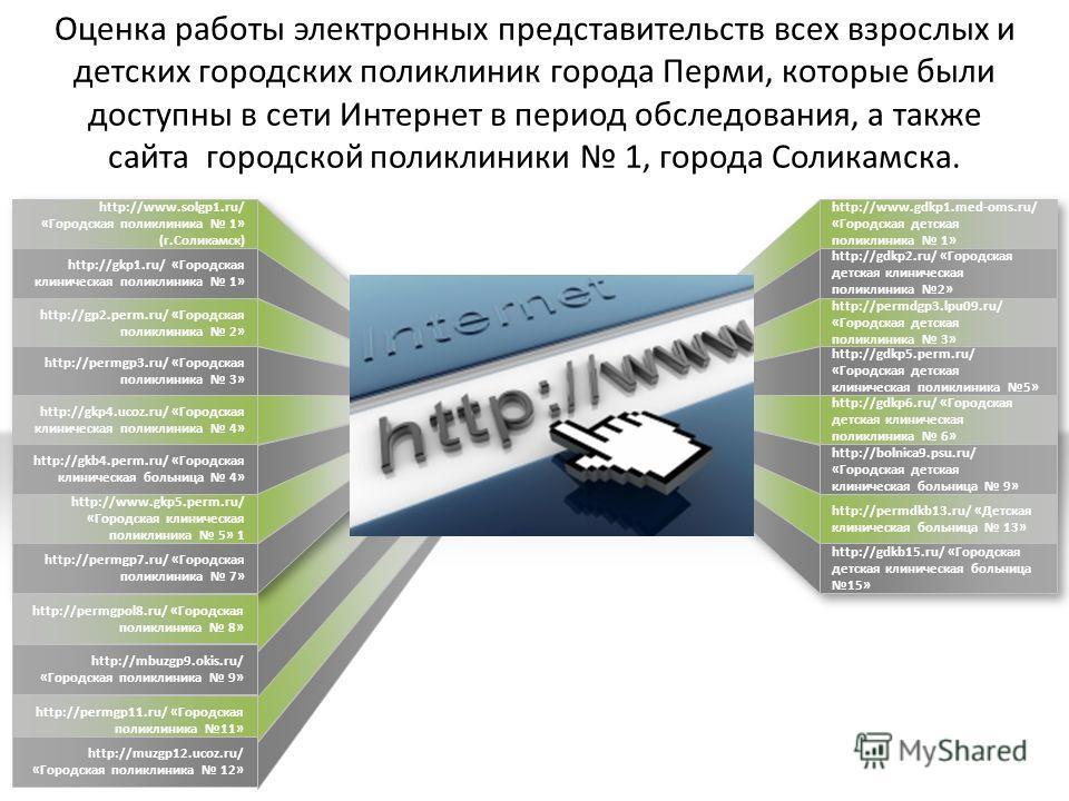 Оценка работы электронных представительств всех взрослых и детских городских поликлиник города Перми, которые были доступны в сети Интернет в период обследования, а также сайта городской поликлиники 1, города Соликамска. http://permgpol8.ru/ «Городск